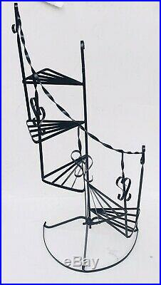 VTG Wrought Iron Metal Plant Stand 50 1/2 X 22 Spiral Stairs 5 Tier Black MINT
