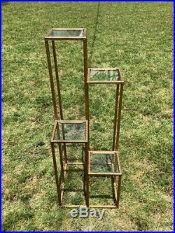 VTg mid century Tier Metal Gold Display Stand Plantstand plant Glass regency