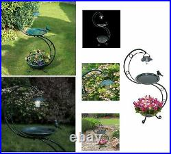 Verdigris Metal Green Bird Bath with Outdoor Garden Planter and Solar LED Light
