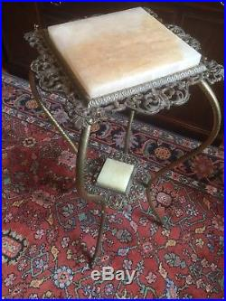 Victorian Alabaster (or Onyx) & Metal Plant/Fern Stand (circa early 1900s) (#2)