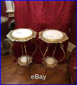 Victorian Plant Stand Gilt Metal Dragon Legs Marble Shelves 2 Available