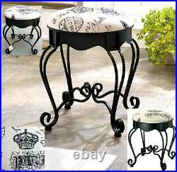Victorian Royal Paris Black Iron Vanity Stool, Seat Chair Plant Stand Nib