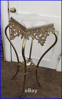 Victorian Style Fern Table Plant Stand Marble Top White Metal withBrass Finish
