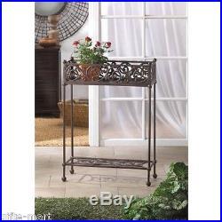 Victorian shabby HEAVY cast iron long rectangle WINDOWBOX flower plant pot stand