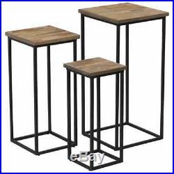 VidaXL 3 Piece Plant Table Set Reclaimed Teak Entryway Hall Display Stand