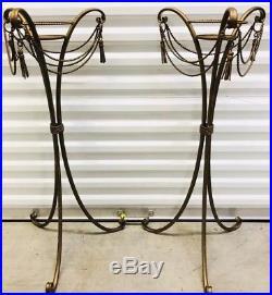VintageItalian Gilt Metal Tassel Pedestal Fern Plant Stand Table