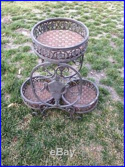 Vintage 2 Level Metal Plant Stand With 3 Round Holder