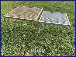 Vintage 2 Wrought Iron Metal Mesh Patio Side Nesting Tables MCM Plant Stand