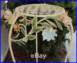 Vintage 32 Italy Toleware Metal Tole Flower Pedestal Plant Stand #4669