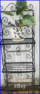 Vintage 3 Shelve Wrought Iron Bakers Rack/Plant Stand H-57 W-17D-10 1/2
