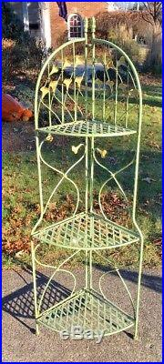 Vintage 3 Tier Corner Plant Stand Free Standing Folding Iron Floral Tole 55