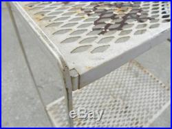 Vintage 3 Tier Metal Mesh Shelf, Plant Stand Wire Rack, Shelves, Painted, Folds