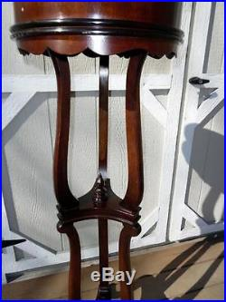 Vintage 48 Tall Carved Mahogany Wood Plant Fern Stand with Galvanized Metal Liner