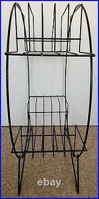 Vintage 50s 60s Round Black Wire Atomic Era Plant Stand Mid Century Modern Metal