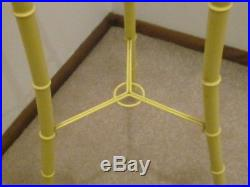Vintage 70's Yellow Metal & Glass Bamboo Plant Stand 3