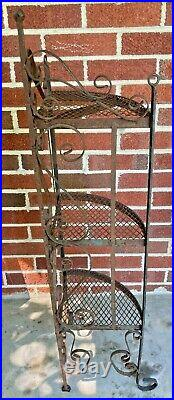 Vintage Antique Iron Plant Stand 3 Tier Scroll Rusty 40