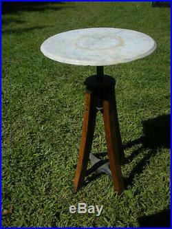 Vintage Antique Marble Top Industrial Metal Oak Wood Plant Stand Adjustable