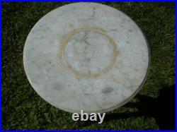 Vintage Antique Marble Top Industrial Metal Oak Wood Plant Stand Adjustable 15