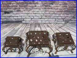 Vintage/Antique Set Of 3 Individual Ornate Metal Nesting Plant/Display Stands