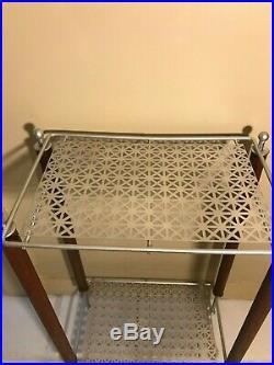Vintage Atomic Telephone Table Plant Stand Metal Wood