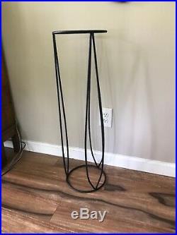 Vintage Black Metal Iron Textured Finish Unique Plant Stand
