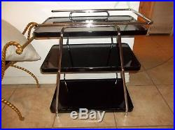 Vintage Black Metal and Chrome 3 tier Cart Bar Server Stand Cocktail Plant Stand