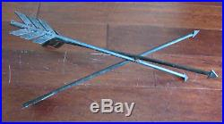 Vintage Black Wrought Iron Metal Crossed Arrows Table Plant Stand Base 19 Tall