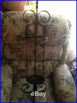 Vintage Black Wrought Iron Metal Unusal Wall Hanging Wine Room Bottle, Candle