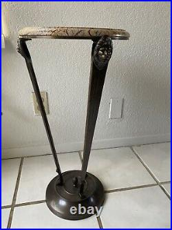 Vintage Bombay Company Stone Marble Top Pedestal Lions Plant Stand End Table