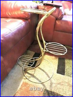 Vintage Brass 3 Tier Plant Stand Table Metal Gold Boho MCM Hollywood Regency