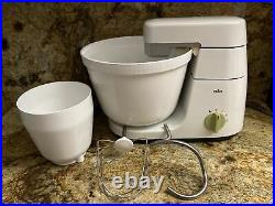 Vintage Braun Stand Mixer KM32 Bowl & 2 Mixer Attachments Tested Works GUC