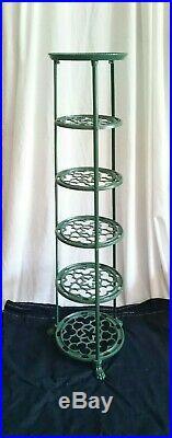 Vintage Cast Metal 6 Tier Pan Stand Saucepan Storage Rack Green Plant Heavy