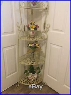 Vintage Chic Tall Corner Metal Shelf Tier White Gold Plant Stand Planter