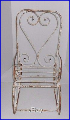 Vintage Childs Kids Rustic Scrolled Metal Rocking Chair Patio Garden Plant Stand