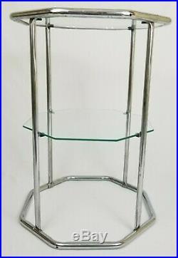 Vintage Chrome And Glass Etagere Floor Shelf Plant Stand Hollywood Regency MCM