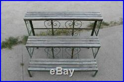 Vintage Decorative Green Paint Metal 3 Tier Wood Shelf Garden Plant Stand