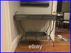 Vintage Farmhouse chic PLANT STAND With galvanized Trays