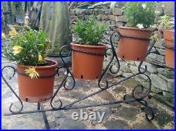 Vintage French metal plant stand wrought iron takes 3 pots