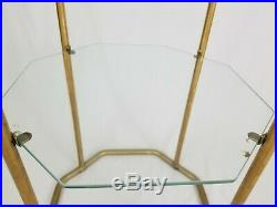 Vintage Gold Metal Glass Etagere Floor Shelf Plant Stand Hollywood Regency MCM