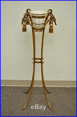 Vintage Gold Metal Italian Rope Tassel Plant Stand Planter Hollywood Regency