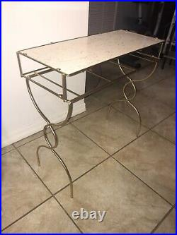 Vintage Gold Metal Vanity Table Plant Stand Desk