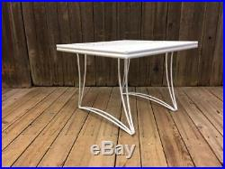 Vintage HOMECREST PATIO TABLE plant stand white mid century modern side metal