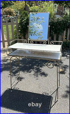 Vintage Hollywood Regency Style Gold Metal Vanity Table Plant Stand Desk