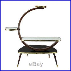 Vintage Indoor Plant Stand Table Shelf Black White Gold 1950s Mid-Century Modern