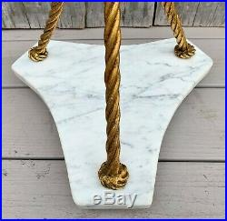 Vintage Italian Marble on Gold Gilt Metal Rope & Tassels Base Plant Stand 1940s