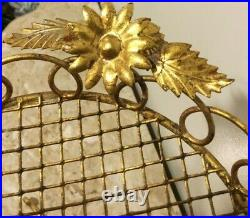 Vintage Italian Tole Hollywood Regency Gold Tone Floral Ashtray Plant Stand
