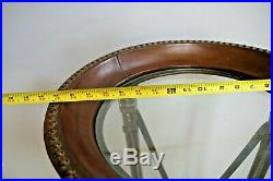 Vintage Large Roman Torch style Plant Stand Metal wood base top leather & glass