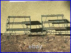 Vintage Lot-2 Mid Century Modern Metal Plant Stand with Wheels, Green