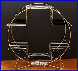Vintage MCM Gold Brass Wire Metal ATOMIC 4-Tier Round PLANT STAND withHairpin Legs