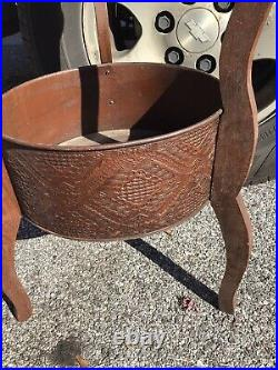 Vintage MCM Wood Metal Leather Plant Stand Wild Look FREE SHIPPING